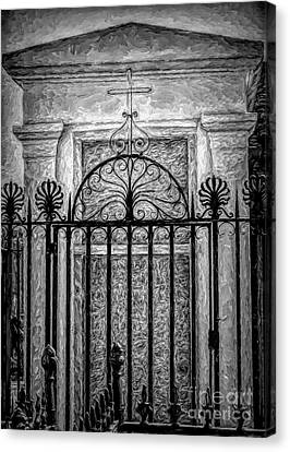 Canvas Print - Tomb, Wrought Iron, And Cross Voided - Artistic by Kathleen K Parker