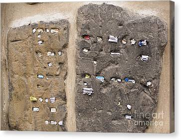 Tombstone Wall In Old Jewish Cemetery. Prague Canvas Print by Juli Scalzi
