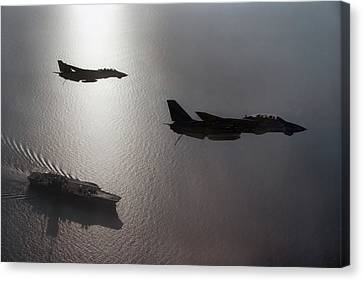 Aircraft Carrier Canvas Print - Tomcat Silhouette  by Peter Chilelli