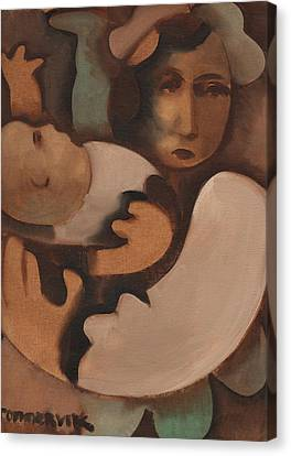 Abstract Mother And Baby Art Print Canvas Print by Tommervik
