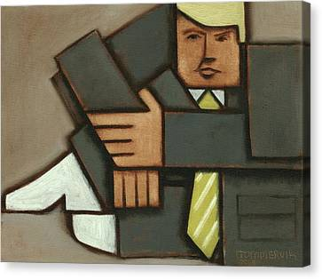 Canvas Print featuring the painting Tommervik Absttract Cubism Donald Trump Art Print by Tommervik