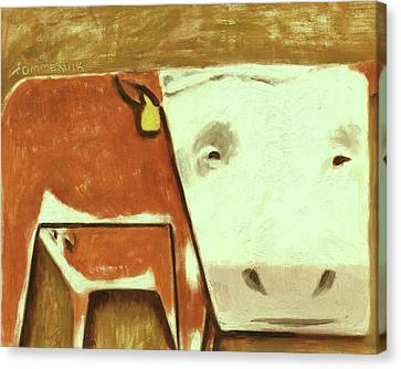 Tommervik Cow Milking Calf Cow Art Print Canvas Print by Tommervik