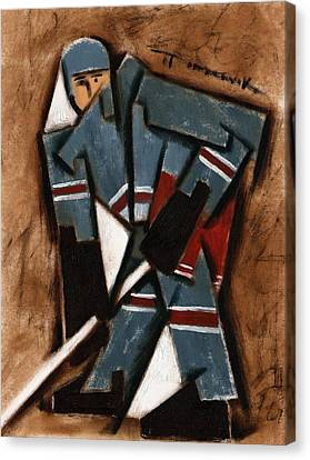 Abstract Hockey Player  Art Print Canvas Print by Tommervik