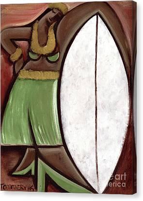 Surfboard Canvas Print - Tommervik Hula Girl Surfboard Art Print by Tommervik