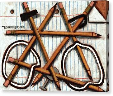 Canvas Print featuring the painting Tommervik Orange Bicycle Art Print by Tommervik