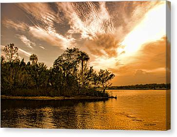 Tomoka River At Sunset Canvas Print by Stephen  Johnson