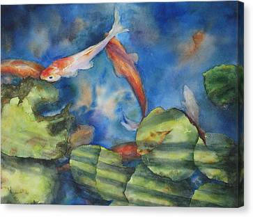 Canvas Print featuring the painting Tom's Pond by Mary McCullah