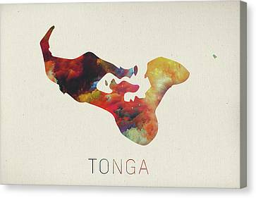 Tonga Canvas Print - Tonga Watercolor Map by Design Turnpike
