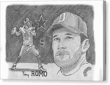 Tony Romo Canvas Print by Chris  DelVecchio