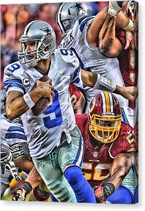 Tony Romo Dallas Cowboys Art Canvas Print by Joe Hamilton
