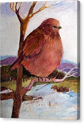 Canvas Print featuring the painting Too Fat To Fly by Diane Ursin