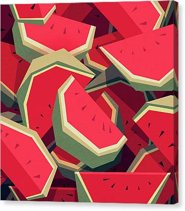 Fresh Canvas Print - Too Many Watermelons by Yetiland