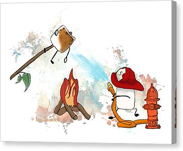 Too Toasted Illustrated Canvas Print by Heather Applegate
