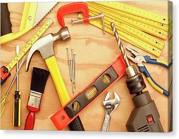 Tools Arrangement Canvas Print by Les Cunliffe