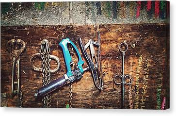 Tools Of The Cattle Trade Canvas Print by Thomas Zimmerman