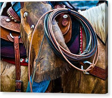 Tools Of The Trade - Cowboy Saddle Closeup - Casper Wyoming Canvas Print by Diane Mintle