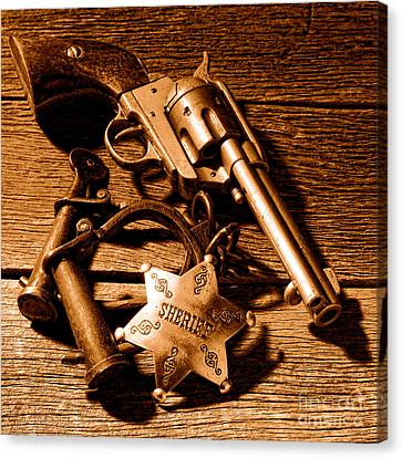 Tools Of Western Justice - Sepia Canvas Print