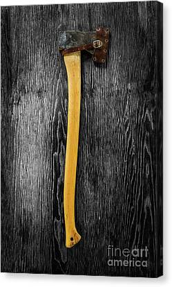 Canvas Print featuring the photograph Tools On Wood 11 On Bw by YoPedro