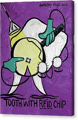 Tooth With A Rfid Chip Canvas Print by Anthony Falbo