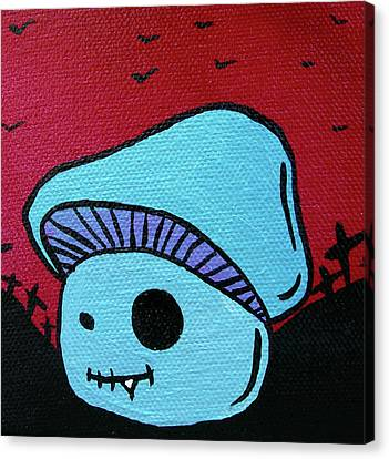 Creepy Canvas Print - Toothed Zombie Mushroom 2 by Jera Sky