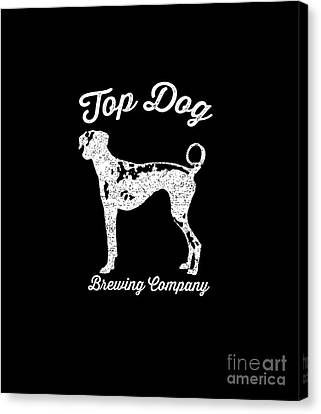 Top Dog Brewing Company Tee White Ink Canvas Print by Edward Fielding
