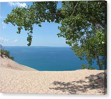 Top Of The Dune At Sleeping Bear Canvas Print by Michelle Calkins