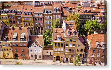 European Old Town With Beautiful Colorful Buildings In Warsaw. Top View Canvas Print