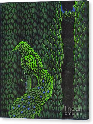 Canvas Print featuring the drawing Topiary Peacock by Donna Huntriss