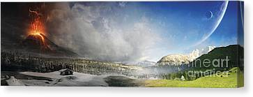 Mountain Cabin Canvas Print - Topic Of Duality Winter-summer by Tobias Roetsch