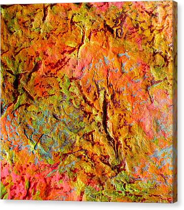Canvas Print featuring the painting Topographical Map Color Poem by Polly Castor