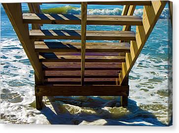 Topsail Island Canvas Print - Topsail Island Ocean Steps by Betsy Knapp