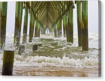 Topsail Island Pier Canvas Print by Betsy C Knapp