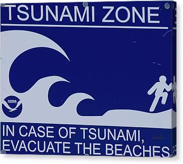 Topsail Island's Tsunami Zone Sign Canvas Print by Betsy Knapp