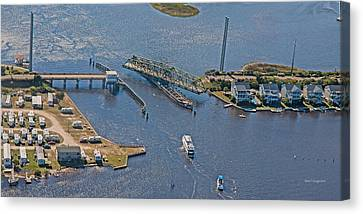 Topsail Island Canvas Print - Topsail Swing Bridge by Betsy Knapp