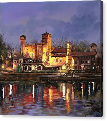 Torino-il Borgo Medioevale Di Notte Canvas Print by Guido Borelli