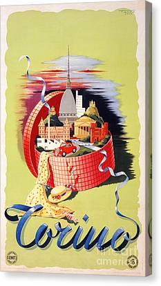 Torino Turin Italy Vintage Travel Poster Restored Canvas Print