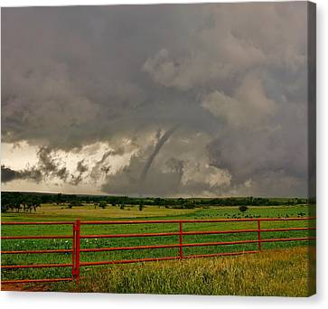 Canvas Print featuring the photograph Tornado At The Ranch by Ed Sweeney