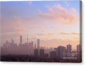 Toronto 2017 Warm Winter Fog Canvas Print by Charline Xia