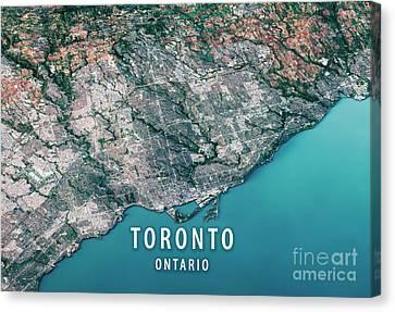 Satellite View Canvas Print - Toronto 3d Render Satellite View Topographic Map Horizontal by Frank Ramspott