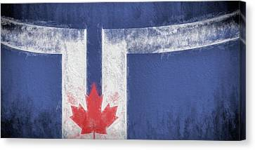 Canvas Print featuring the digital art Toronto Canada City Flag by JC Findley