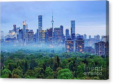 Toronto Downtown And Midtown Evening Clouds Canvas Print by Charline Xia