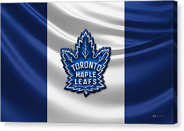 Toronto Maple Leafs - 3d Badge Over Flag Canvas Print by Serge Averbukh