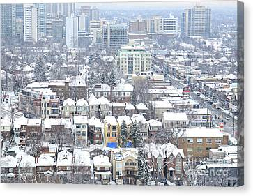 Canvas Print featuring the photograph Toronto Midtown Fresh Snow by Charline Xia