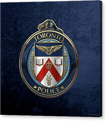 Canvas Print featuring the digital art Toronto Police Service  -  T P S  Emblem Over Blue Velvet by Serge Averbukh