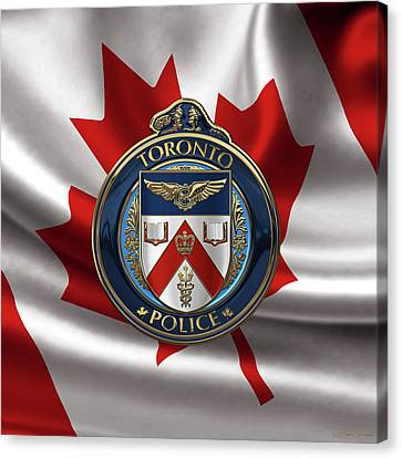 Canvas Print featuring the digital art Toronto Police Service  -  T P S  Emblem Over Canadian Flag by Serge Averbukh