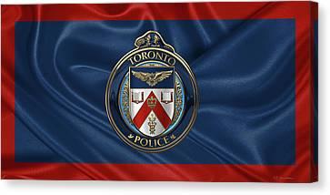 Police Art Canvas Print - Toronto Police Service  -  T P S  Emblem Over Flagtoronto Police Service  -  T P S  Emblem Over Flag by Serge Averbukh