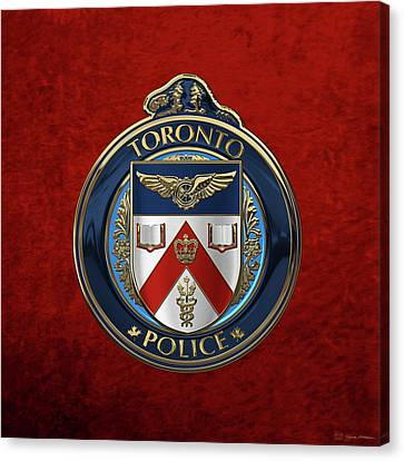 Canvas Print featuring the digital art Toronto Police Service  -  T P S  Emblem Over Red Velvet by Serge Averbukh