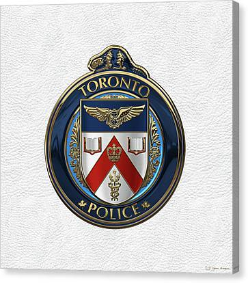 Canvas Print featuring the digital art Toronto Police Service  -  T P S  Emblem Over White Leather by Serge Averbukh
