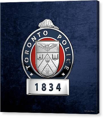 Police Art Canvas Print - Toronto Police Service  -  T P S  Officer Badge Over Blue Velvet by Serge Averbukh