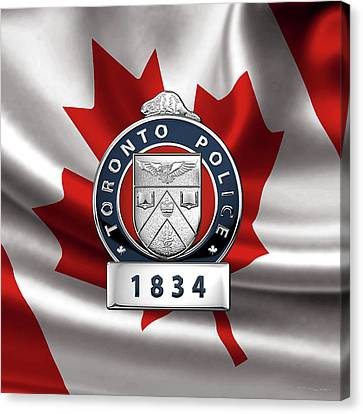 Police Art Canvas Print - Toronto Police Service  -  T P S  Officer Badge Over Canadian Flag by Serge Averbukh